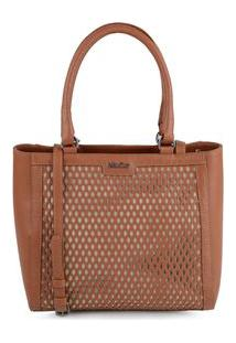Bolsa Shoulder Bag Couro Perfuros Terra - Terra/Un