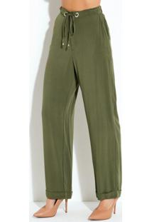 Calça Pantalona Verde Com Ilhós E Bolsos