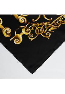 Lenço Arabescos Em Seda - Preto & Amarelo - 86X88Cmversace