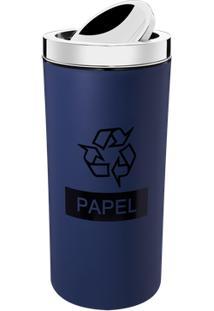 Lixeira Com Tampa Basculante Inox 9 L - Decorline Lixeiras Ø 19 X 38 Cm 9 L Azul Brinox