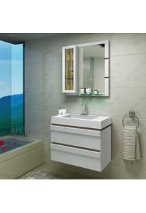 Gabinete Para Banheiro Com Cuba E Espelheira Grécia Balcony Branco Supremo/Merlot