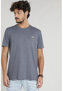 Camiseta Masculina Com Bordado De Coqueiro Manga Curta Gola Careca Cinza Mescla Escuro