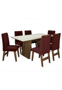 Conjunto De Mesa Para Sala De Jantar Com 6 Cadeiras Vigo -Dobuê Movelaria - Castanho / Branco Off / Vinho Bord