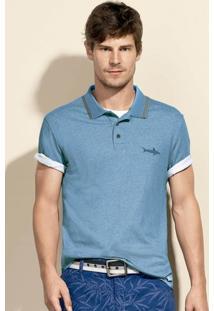 Camisa Polo Masculina Em Malha De Algodão E Modelagem Regular