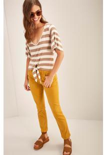 Calça Sarja Reta Cintura Média Comfort Amarelo