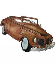 Escultura De Parede Para Sala Metal Carro 46X83Cm Vermelho - Tricae