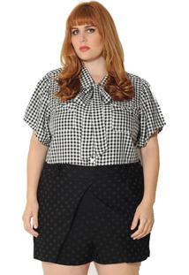 Camisa Vintage And Cats Plus Size Xadrez Vichy Preta