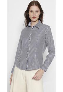 Camisa Listrada- Branca & Azul Marinhoclub Polo Collection