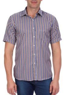 Camisa Social Masculina Marrom Listrada - 2