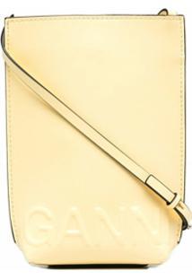 Ganni Clutch Mini Com Logo Gravado - Amarelo
