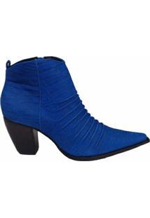 Bota Couro Dina Mirtz Country Cano Curto Feminina - Feminino-Azul