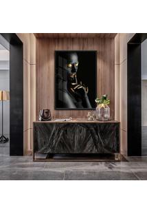 Quadro Nanda 90X60Cm Mulheres Negras Maquiagem Dourada Moldura Vidro - Multicolorido - Dafiti