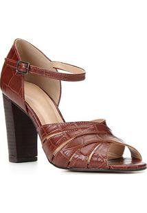 Sandália Couro Shoestock Croco Tiras Cruzadas Feminina - Feminino-Tabaco