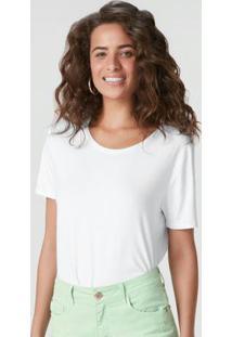 Blusa Branca Viscose Com Fenda