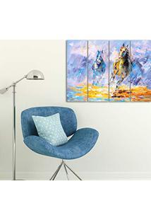 Placa Painel Decorativa Em Mdf Foto Pintura Cavalos Kit 4 Placas