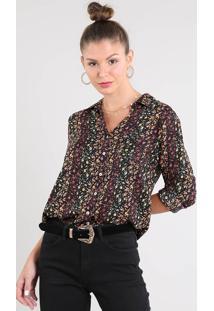 Camisa Feminina Estampada Floral Com Bolso Manga Longa Preta