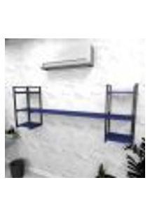 Estante Industrial Escritório Aço Cor Preto 180X30X68Cm (C)X(L)X(A) Cor Mdf Azul Modelo Ind26Azes
