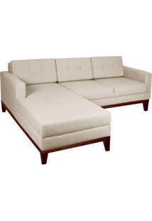 Sofá 3 Lugares Esquerdo Living Com Chaise Pés E Base Em Madeira Linho Cotton Cru