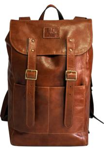 Mochila Line Store Leather Adventure Couro Whisky Rústico.