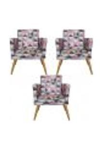 Conjunto 3 Poltronas Decorativa Com Rodapé Nina Triângulo Rosa - Bela Casa Shop