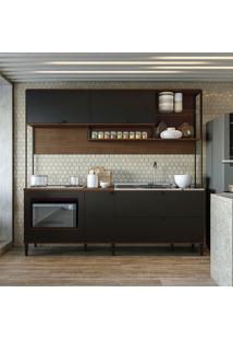 Cozinha Compacta 2 Peças Cbpo020 – Kappesberg Pop - Jacarandá / Preto