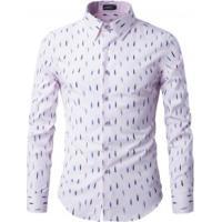 720fd0c00211c Camisa Masculina Slim Estampado Manga Longa - Rosa Claro