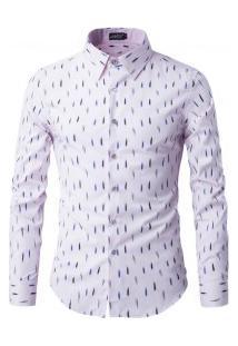 Camisa Masculina Slim Estampado Manga Longa - Rosa Claro