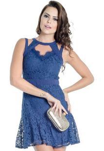 25ec19605 ... Vestido Curto Renda Guipir Colcci - Feminino-Azul