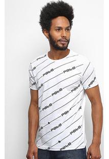Camiseta Polo Rg 518 Logo Listras Masculina - Masculino-Branco