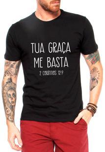 Camiseta Criativa Urbana Frases Evangélica Gospel Tua Graça Preto