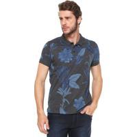 c21b469b426 Camisa Polo Aramis Slim Floral Grafite Azul