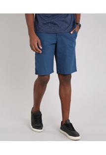 Bermuda Masculina Reta Estampada Mini Print Azul