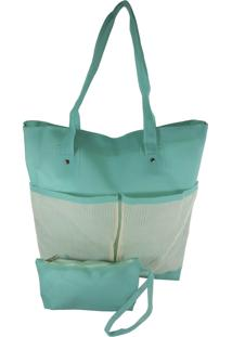 Bolsa De Praia Bag Dreams Impermeável Com Bolsos Azul Tiffany
