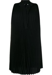 Redvalentino Vestido Reta Com Pregas - Preto