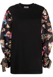Versace Jeans Couture Vestido De Algodão Com Estampa Barroca - Preto