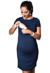Vestido Mundo Gestante Amamentação Top Azul-Marinho