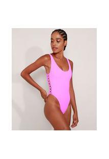 Maiô Body Asa Delta Canelado Sem Bojo Com Tiras Cruzadas E Proteção Uv50+ Pink