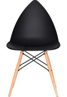 Cadeira P&W Plástico Pp E Base Em Madeira De Faia E Aço Preta - Orb