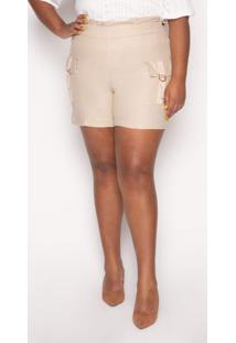 Shorts Almaria Plus Size Kayla Forli Linho Areia - Bege - Feminino - Viscose - Dafiti