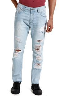 Calça John John Slim Croacia 3D Jeans Azul Masculina (Jeans Claro, 42)