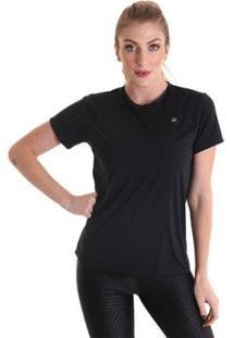 Camiseta Feminina Manga Curta Antiviral Efeito Permanente - Feminino-Preto