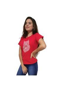 Camiseta Feminina Cellos Abstract Wolf Premium Vermelho