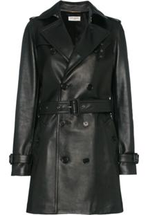 Saint Laurent Trench Coat De Couro - 1000 Black