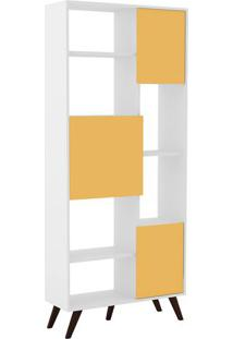 Estante Retrô- Branca & Amarela- 184,5X79,5X32Cmmovel Bento