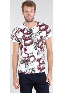 Camiseta Masculina Estampa De Cobras Manga Curta Gola Careca Branca