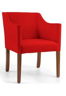 Poltrona Decorativa Fixa Base Madeira Lila Veludo Vermelho D-173 - Lyam Decor