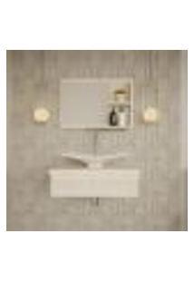 Conjunto Para Banheiro Bancada Com Cuba F44 Folha E Espelheira City 601 Snow