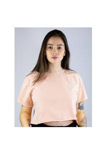 Camiseta Cropped Toneh Sem Barra Rosa Rosa