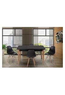 Conjunto Mesa De Jantar Luiza 135Cm Preta Com 4 Cadeiras Eames Eiffel - Preto