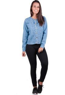 Jaqueta Banna Hanna Detalhe Pesponto Azul Jeans G